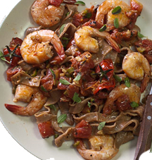 CHOCOLATE PASTA AND SHRIMP WITH SPICY TOMATO SAUCE