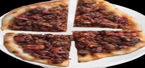 COCOA NIB AND SPICED LAMB SAUSAGE PIZZA