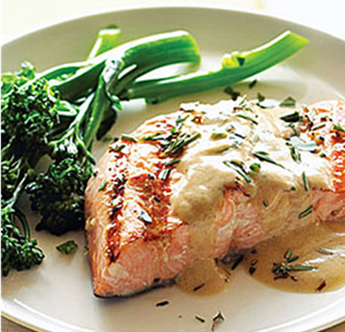 SALMON IN WHITE CHOCOLATE DILL-LEMON SAUCE